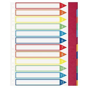 Intercalaire Exacompta A4+ - personnalisable - carte lustrée - 12 touches