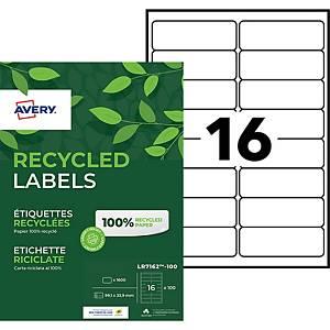 Etiquette adresse recyclée Avery - LR7162 - 99,1 x 33,9 mm - blanche - par 1600