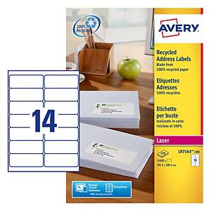 Pack de 100 etiquetas 100 % recicladas Avery - 99,1 x 38,1 mm - blanco