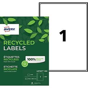Etiquette adresse recyclée Avery - LR7167 - 199,6 x 289,1 mm - blanche - par 100