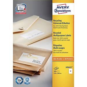 Avery Zweckform LR3655 recylced witte etiketten, 210 x 148 mm, doos van 200