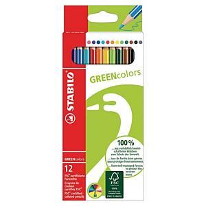Crayon de couleur Stabilo Greencolors - coloris assortis - boîte de 12