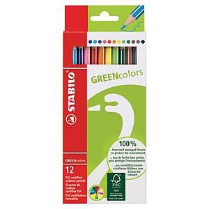 Crayons de couleur Stabilo® Greencolors, la boîte de 12 crayons