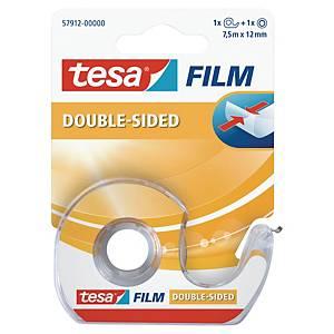 Doppelklebeband Tesa 57912 mit Einweg-Handabroller, 12mm x 7,5m