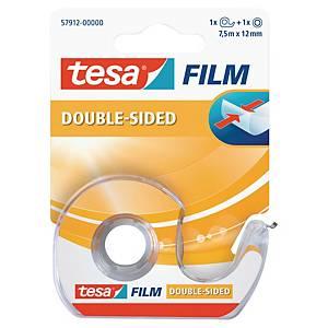 Ruban adhésif double face Tesa Film - 12 mm x 7,5 m + dévidoir