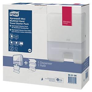 Pack de dispensador + toallas secamanos Tork H2 - blanco