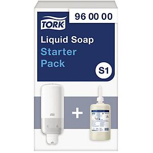 Tork S1 distributeur de savon pour les mains blanc - kit de démarrage
