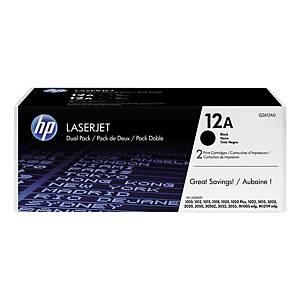Cartouches toner duopack HP 12AD (Q2612AD), noires, le paquet de 2 x Q2612A