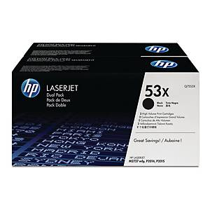 HP 53X 2-Pack High Yield Black Original Laserjet Toner Cartridges (Q7553XD)