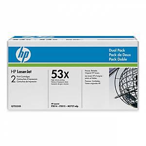 HP Q7553XD duopack laser nr.53XD noires Haute Capacité [2x7.000 pages]