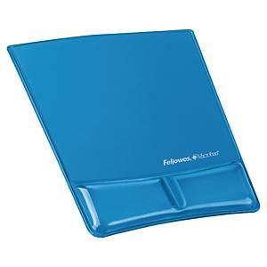 Tapis de souris repose-poignets gel Fellowes Health-V Crystal Microban - bleu