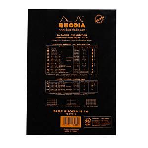 Notesblok Rhodia, linjeret, A5, 80 ark 80 g, sort