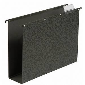 Elba Vertic dossiers suspendus pour tiroirs folio 80mm noir - boîte de 10