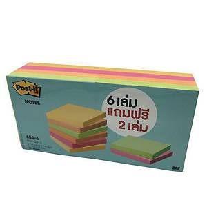 POST-IT 654-6VAD NEON NOTES 3  X3   ASSORTED COLOURS - PACK OF 8