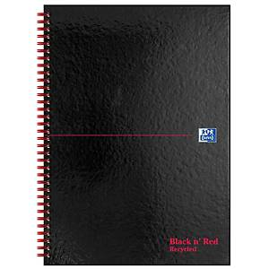 Oxford Black n  Red A4 Glossy Hardback Wireb. Notebook Ruled 140p Recycled Black