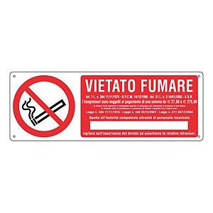 Cartello segnaletico di divieto orizzontale   VIETATO FUMARE CON LEGGE