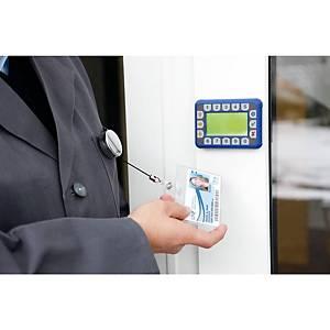 Porte-badge à enrouleur Durable 8225-23,mécan. d enroul., chrome, 10unités