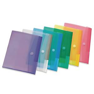 Enveloppes plastiques Tarifold, A5, PP transparent, couleurs assorties, 6 pièces