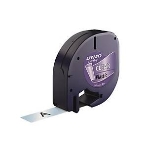 DYMO LetraTag (膠) 標籤帶 12毫米 x 4米 黑色字透明底