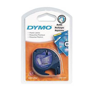 Dymo 12267 Letratag Plastic Tape 12mm X 4m Black on Clear