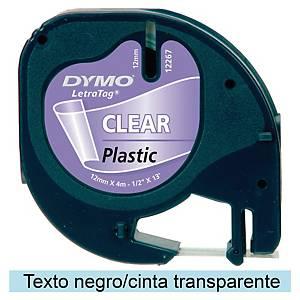 Fita rotulagem Dymo LetraTag - 12mm - plástico - preto em fundo transparente