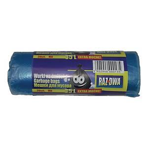 Worki na śmieci MDPE 35 l, niebieskie 20 sztuk