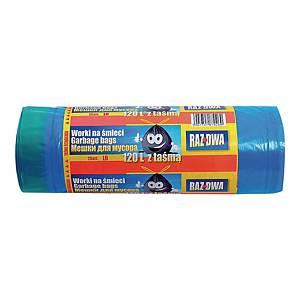 Worki na śmieci LDPE sanitarne z taśmą ściągającą, 120 l, niebieskie, 25 sztuk