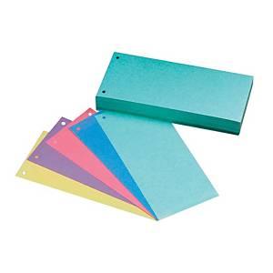 Hit Office 1/3 Trennstreifen, 105 x 240 mm, 5-Farbenmix, Packung mit 50 Stück
