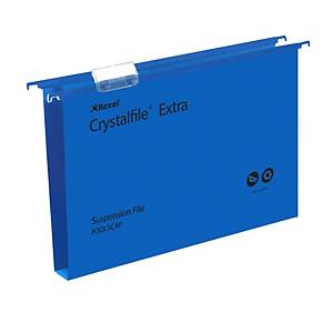 Rexel Crystalfile Extra Foolscap Suspension File 30mm Base Blue – Pk 25