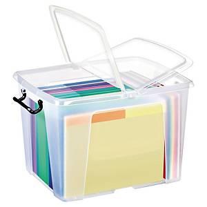 Strata műanyag, fedeles archiváló doboz, 40 l, 50 x 39,5 x 32 cm, átlátszó