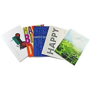 Cartes d anniversaire ABC 90991, 117x173 mm, 5 motifs