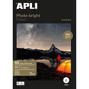 Pacote 60 folhas papel fotográfico inkjet Apli Bright 10413 - A4 - 280 g/m²