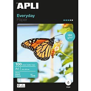 Pacote de 100 folhas de papel fotográfico inkjet Apli 11475 - A4 - 180 g/m²