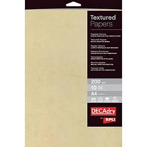 Pacote de 10 folhas de papel texturizado Apli - A4 - 200 g/m²