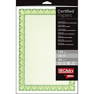 Paquete 10 hojas papel para certificados Apli - A4 - 115 g/m2