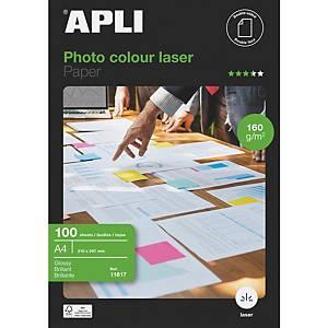 Pacote de 100 folhas de papel fotográfico laser Apli 11817 - A4 - 160 g/m²