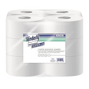 Carta igienica in rotolo mini jumbo Tenderly Professional bianco - conf. 12