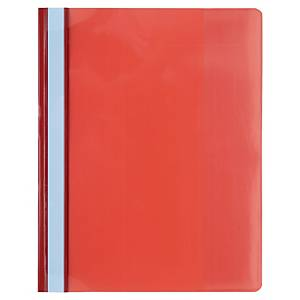 Exacompta PVC A4 Maxi Flat Bar Presentation Folders, Red - Pack of 10