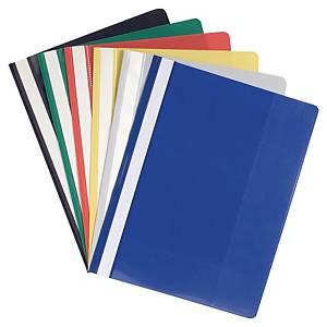 Exacompta PVC A4 Maxi Flat Bar Presentation Folders, Assorted Colours - Pack 20