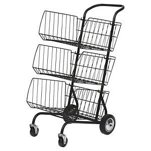 Chariot avec 3 paniers pour transport courrier Alba en acier noir