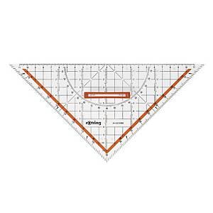 Rotring műanyag háromszögvonalzó, szögmérővel, 25 cm