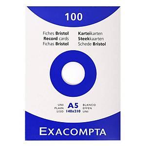 Lístky do kartotéky Exacompta, bez linek, A5, bílé