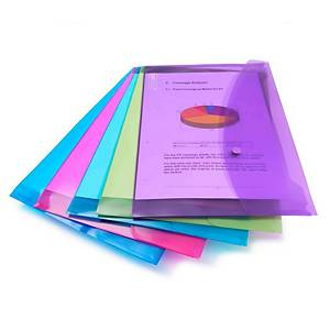Assorted Bright Foolscap Polypropylene Popper Wallets - Pack of 5