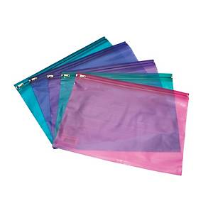 Assorted Bright A4+ Zip Bags - Pack of 25