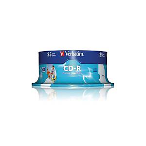 VERBATIM CD-R Spindle 80MIN/700MB 43439 52x fullprint a.L., emballage de 25 pcs