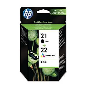 HP 21 Black/22 Tri-Colour 2-Pack Original Ink Cartridges (SD367AE)