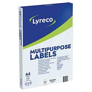 Pakketiketter Lyreco, 41 x 70 mm, eske à 2100 stk.