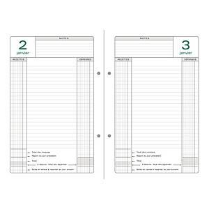 Recharge pour agenda perpétuel de caisse Exacompta - 24 x 16 cm - vert/gris