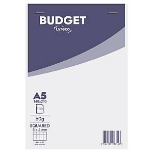 Lyreco Budget schrijfblok, A5, geruit 5 x 5 mm, geniet, 100 vellen