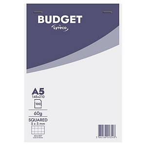 Lyreco Budget notepad A5 squared 5x5 mm stapled 100 pages